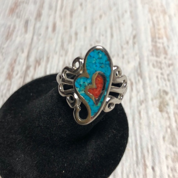 Vintage Jewelry - Sterling silver Navajo Turquoise 1984 Heart Ring